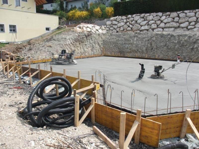 Gedämmte Fundamentplatte für ein Niedrigenergiehaus