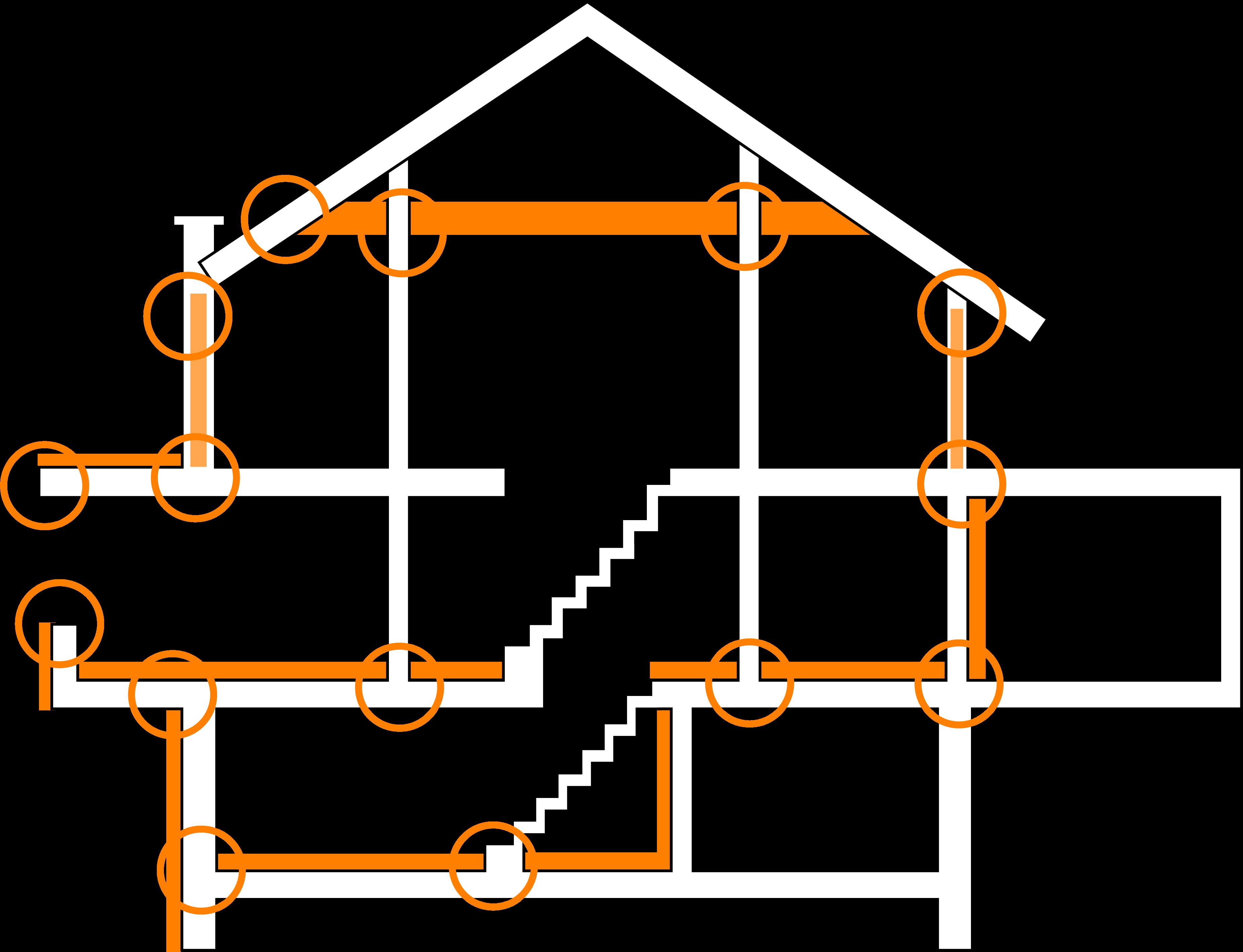 Skizze Niedrigenergiehaus mit Wärmebrücken